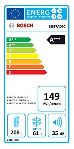 Bosch KIS87AD40 Serie 6 Kühl-Gefrier-Kombination / A+++ / 177,20 cm Höhe / 149 kWh/Jahr / 208 L Kühlteil / 61 L Gefrierteil / LED-Beleuchtung -