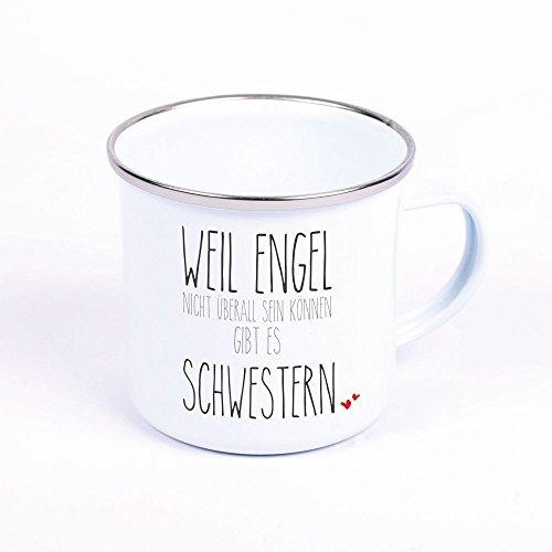 """Metalltasse Emaille Look """"Weil Engel nicht überall sein können, gibt es Schwestern"""" - Geschenkidee - Tasse - Becher - Schwester - Geschenk für Schwester - Geburtstagsgeschenk"""