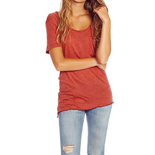 QIYUN.Z Coton Femmes Solid Color Furcal T-shirt Manches Courtes En Vrac Red Brick