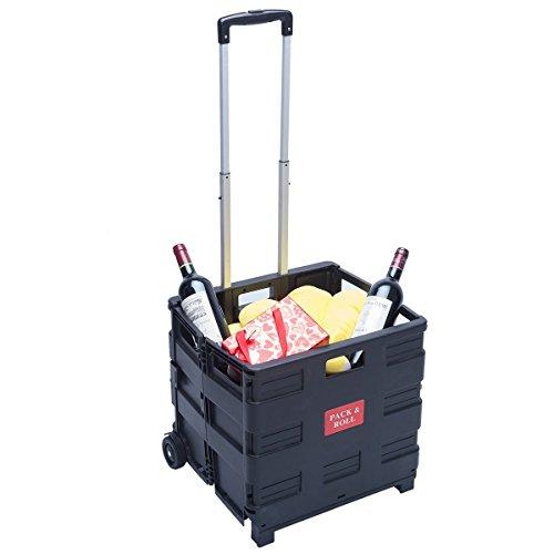ZNL® Einkaufstrolley Klappbar Einkaufswagen Schwarz Transporttrolley Shopping Trolley Faltbox Trolley 35kg WS-01