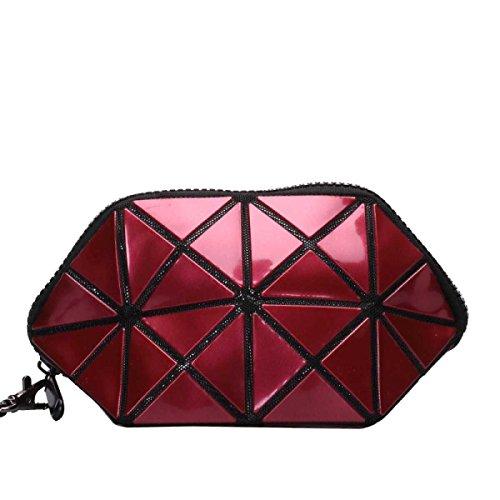 Frauen Unregelmäßige Geometrische Form Handtasche Kosmetiktasche Redwine