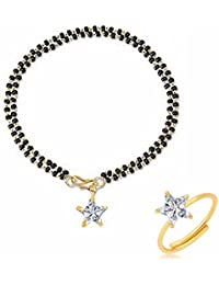 Archi Collection Jewellery Combo Of American Diamond Mangalsutra Bracelet Mangalsutra And Ring For Women