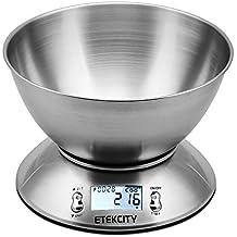 Etekcity EK4150 Báscula Digital para Cocina, 11 lbs / 5 kg, Acero Inoxidable, con Bol de Mezcla, Retroiluminación Blanca, Alarma y Sensor de Temperatura, Gris