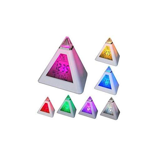 Despertador triángulo luminoso luz nocturna 7colores cambiantes...