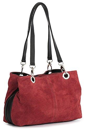 Big Handbag Shop kleine Damen Umhängetasche mit mehreren Reißverschlusstaschen aus Wildleder rot - schwarz Trim