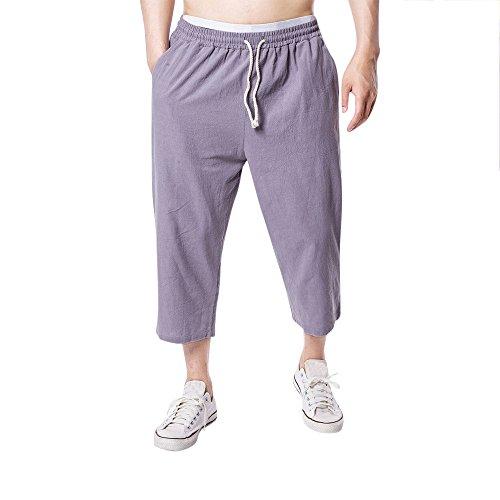 e717320f292fb0 Pantalones De Yoga,ZARLLE Hombre Pantalones De Lino Cintura EláStica  Vintage Pantalones Recortados Tallas Grandes