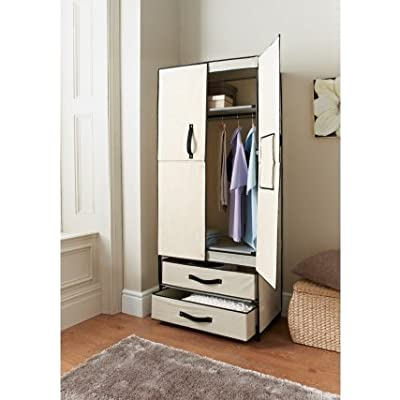 Deluxe Double Canvas Wardrobe Cupboard ClothesStorage Shelves Box Closet W74 x D45 x H171cm produced by shoppingzoneplus - quick delivery from UK.