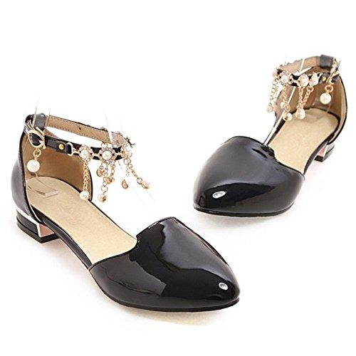 TAOFFEN Damen Beilaufig Fesselriemen Sommer Schuhe Schnalle Perle Flach Sandalen Schwarz