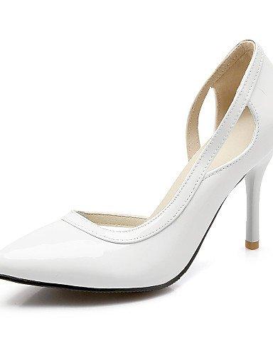 WSS 2016 Chaussures Femme-Bureau & Travail / Décontracté-Noir / Rouge / Blanc / Argent-Talon Aiguille-Talons / Bout Pointu-Talons-Cuir Verni red-us9 / eu40 / uk7 / cn41