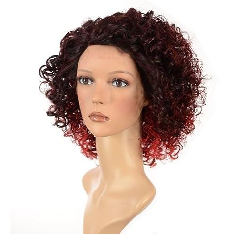 Hair By MissTresses púrpura apretado del hombro Curl Longitud del frente del cordón de la peluca / Estilo Jade Ombre Rojo