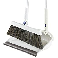 H.aetn Broom and Dustpan Set Upright Long-Handled Dustpan and Brush Broom Housewares Dustpan for Indoor/Outdoor Sweeping