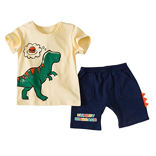 JERFER Baby Set Hose Jungen Kleinkind Dinosaurier Kurzarm T Shirt Tops + Shorts Outfits Set