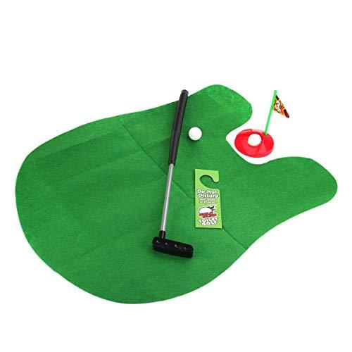 QTDH Rug Toilette Golf Teppich - Putter Set - Bad Spiel Mini Golf Set - Büro Küche Spielzimmer Schlafzimmer Idealer Teppich