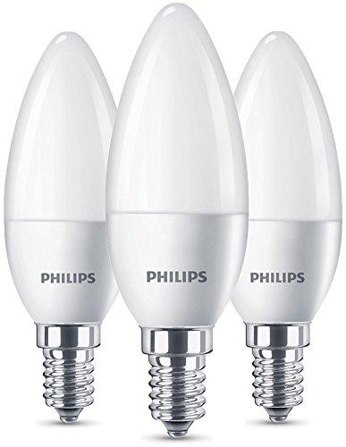 Philips LED Lampe ersetzt 40W, EEK A+, E14, warmweiß (2700 Kelvin), 470 Lumen, Kerze, 3er Pack
