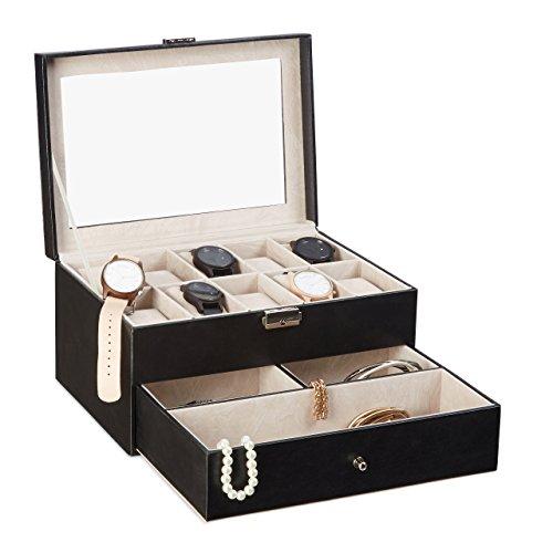 Relaxdays Uhrenbox f. 10 Uhren, abschließbarer Kunstleder Uhrenkasten, Uhrenkoffer Glasdeckel u. Uhrenkissen, schwarz