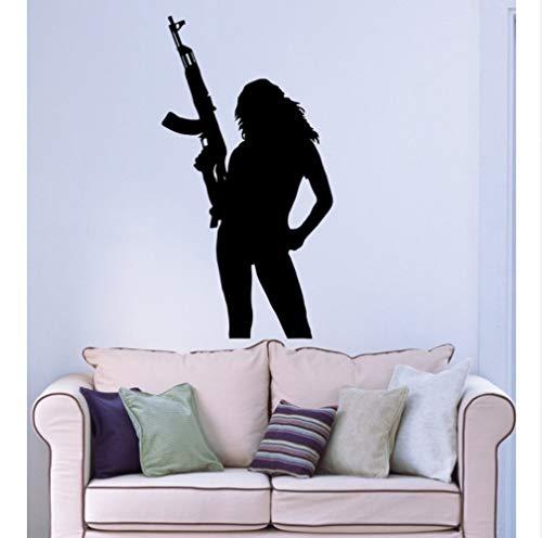 Myvovo Wandaufkleber DecaVinyl SilhouetteMädchen Gun Waffe Womens Soldat Wandbild Aufkleber Für Mädchen Zimmer Soldat Wandbild 42 * 79 Cm -