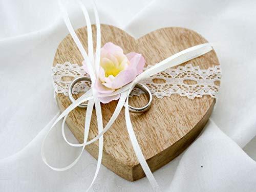 Ringkissen Holz Herz rosa creme vintage klein