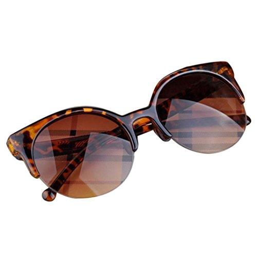 Unisex Vintage Retro Sonnenbrille Katzenauge Halbrand Runde Sonnenbrillen für Männer Frauen Travel Sonnenbrillen Nachtsichtbrille Trendy Cat Eye Brillenmode Treibenden Gläser (C)