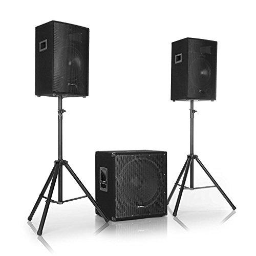"""auna Cube 1812 • 2.1 Aktiv PA-Set • 1600 W Gesamtleistung • 46 cm (18"""") Subwoofer • 2 x 30 cm (12"""") Lautsprecher • Bi-Amping Technologie • Echo • Bass- und Treble-Control • inkl. Zubehör • schwarz"""