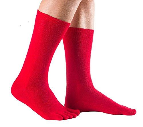 Knitido Track & Trail Hotrod | Warme und dünne Zehensocken aus wärmender Infrarot-Faser Hot Ray, ideal für Zehen- und Barfußschuhe im Winter, für Damen und Herren, in schwarz und zwei weiteren Farben, Größe:43-46;Farbe:Rot
