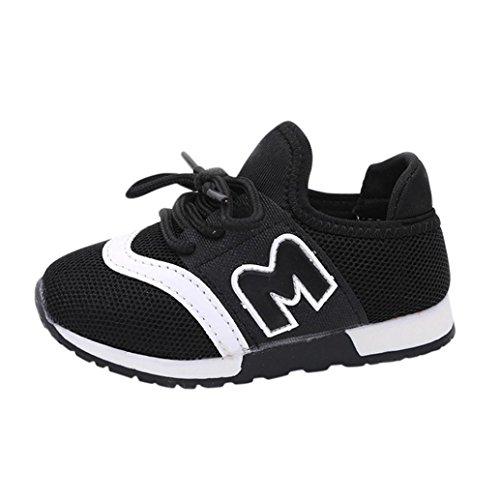 Schnür Turnschuhe Kleinkind Kinder, DoraMe Baby Jungen Mädchen Sneaker Brief Sport Laufschuhe Solide Mesh Schuhe für 0.5-6 Jahr (4-4.5 Jahr/Size(CN):27, Schwarz) (Weißen Baby-schuh Jungen)