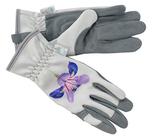 Der RHS-Kollektion von Blattgold Malvern Damen Hirschleder Leder Gartenhandschuhe, grau und violett, 32x 11x 4cm