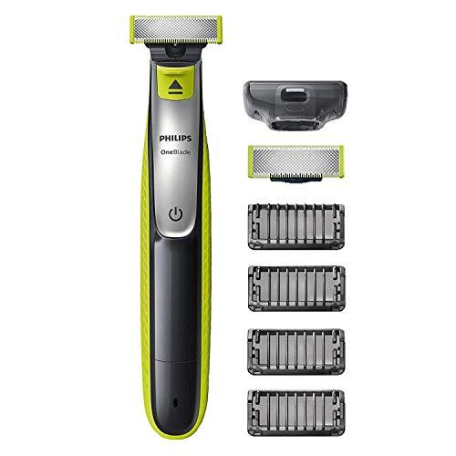 Philips oneblade rasoio, rade, regola e rifinisce con 4 pettini regolabarba e 1 lama di ricambio inclusa QP2530/30