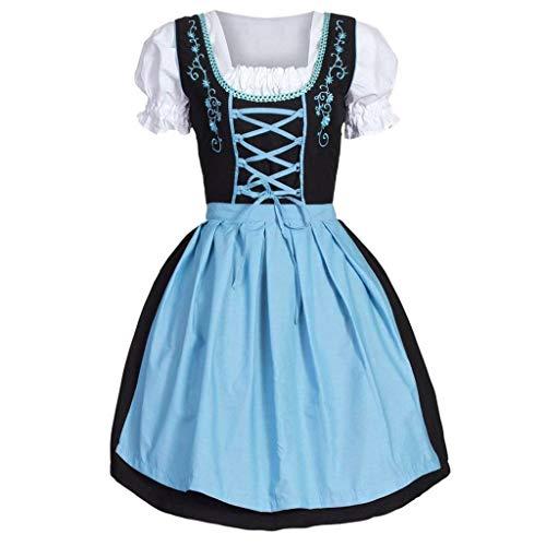 Lager Rabatt Kostüm - Dorical Damen Oktoberfest Kostüme/Frauen Elegant 2 Stück Dirndl Kleid Bluse Costumes rachtenkleid mit Stickerei Traditionelle bayerische Oktoberfest Karneval ABVERKAUF(Blau,X-Large)
