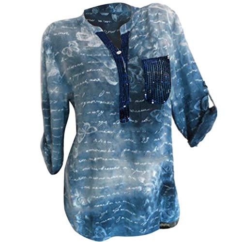 COZOCO 2019 Mode T-Shirt Frauen Übergröße T Lose Pailletten Druck Oberteile Stehkragen Bluse Pullover Oberteile