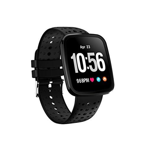 FromPRO V6HD-Bildschirm, Fitness Tracker, Smartwatch OLED Herzfrequenz Blutdruckmessgerät Smart Watch Sport Smart Watch Armband, Schwarz