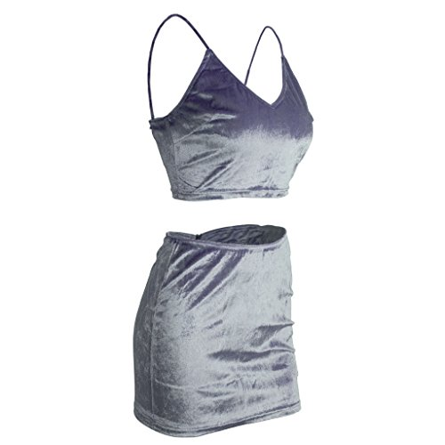 Juleya Donna Tute Spiaggia Crop Top e Mini Gonna Clubwear 2 Pezzi Set S-XL Grigio