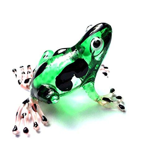 Frosch Grün Schwarz Pink - Glas Frosch - Glasfigur Glastier Frog Nr.005 - Deko Setzkasten Vitrine