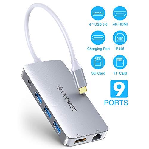 VANMASS USB C Hub 9 in 1 Aluminium USB C Adapter 4 Chips mit Type C PD (90W) 4K HDMI Anschluss 4 USB 3.0 Ports SD/TF Kartenleser RJ45 Gigabit Ethernet Port für Macbook Air/Pro und Andere Type-C Geräte
