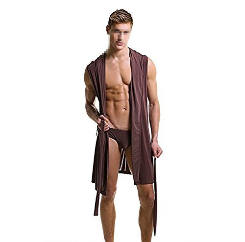 Preisvergleich Produktbild Qingsun Herren Bademäntel Ärmellos Seidig Männer Kapuzen Bademäntel Schlank Bademantel Silk Nachtwäsche Nachtwäsche
