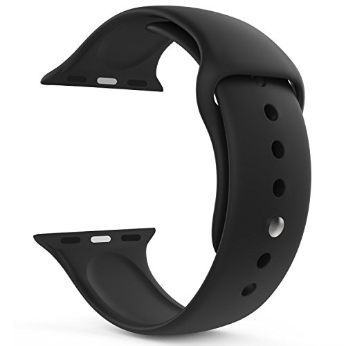 ikazen Band 42mm Silicone Strap for Apple Watch iWatch 42 mm (Watch not included) - Black