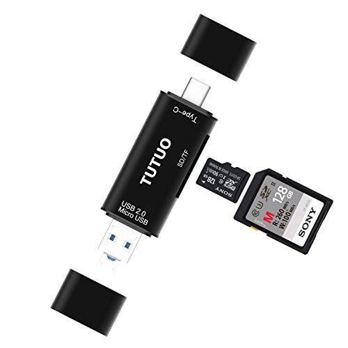 TUTUO Lector de Tarjetas USB SD / Micro SD (TF) 3 en 1 Universal USB Tipo C, USB-A y Micro USB 2.0 Adaptador OTG para MacBook Pro, Chromebook Pixel / XL / Pixel C, Nexus 5X / 6P, Lumia 950 / XL, Huawei P9 / P10, Xiaomi Max 2, Samsung Galaxy S8, OnePlus 3 y más (Negro)