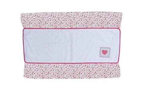 Imagen para Cambiador bebe interior plastificado LIBERTY bordado CORAZON. Color Rosa. Medida 80x53 cm. Desenfundable. Válido para cómodas, bañeras y convertibles. KOKETES, BEBELOVERS, MOBIBE