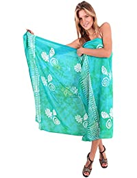 La Leela Soft Rayon Hand Paint Sarong Cover up Swimwear Pareo 78X43 Sea Green Gift Spring Summer 2017
