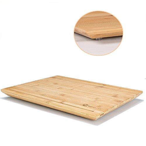 DELCRIMO® Tabla de Cortar de Bambú Antibacteriana Utensilio de Cocina Tabla de Picar de Madera Cuadrada con Ranuras Antideslizente / Utensilios Cocina Madera
