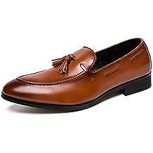 HILOTU Uomo Oxfords Dress Shoes Suola in Nappa di Gomma Stile British  Classic Mocassini Slip- 4a592cecdde