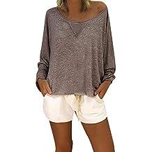 8a2e5001d234 OSYARD Damen Baumwolle Lockere Bluse, Frauen Mode LäSsige Lockere Bluse  Lange ÄRmel Schaufel Hals Solid