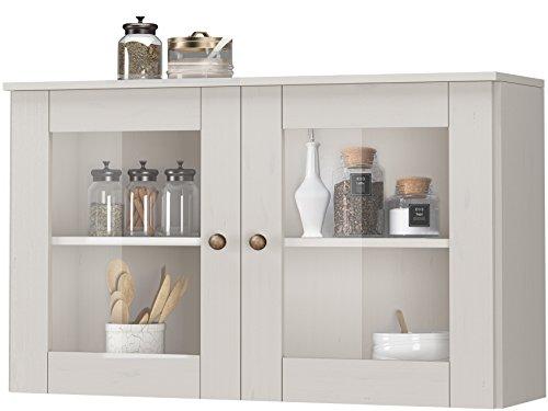 Loft24 Forest Hängeschrank weiß Küche Küchenschrank Oberschrank Wandschrank Küchenhängeschrank Schrank Glastür Kiefer massiv 2 Türen