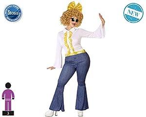 Atosa-61410 Atosa-61410-Disfraz Disco-Adulto Mujer, Color dorado, XXL (61410
