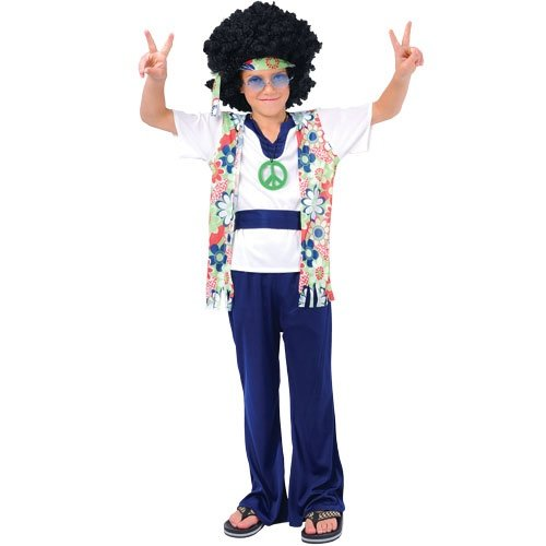 HIPPIE DUDE CHILDREN KIDS COSTUME FANCY DRESS UP PARTY