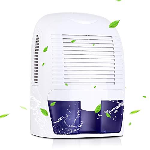 Amzdeal Déshumidificateur d'Air Compact avec 1500ML Réservoir d'eau - Déshumidificateur Électrique Portable pour Éliminer Humidité pour Bureau, Cuisine, Chambre, Salles de Bains, Armoire, Garage