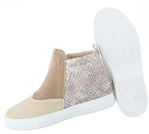 Damen Schuhe Stiefeletten Stiefel Moderne Schwarz Beige