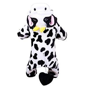 Fantasyworld Super Chaud Velours Corail Manteau pour Chien Cosplay Vache à Lait de Chien Veste de Mode pour Chien Chien à Capuchon extérieur vêtement Puppy Costume