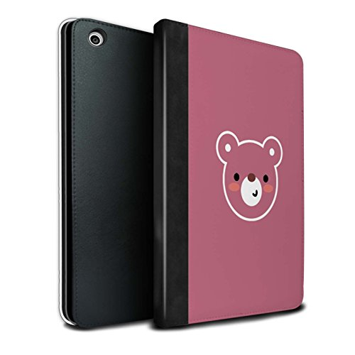 Stuff4® PU-Leder Hülle/Case/Brieftasche für Apple iPad Mini 1/2/3 Tablet/Teddybär Kunst Muster/Niedliche Minimalistische Tiere Kollektion (Teddybär Fall Ipad Mini)