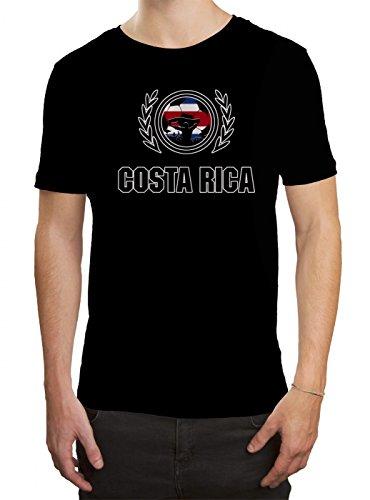 Shirt Happenz Costa Rica WM 2018#2 Premium T-Shirt Trikot Fußball Fan Nationalmannschaft Herren Shirt, Farbe:Schwarz (Deep Black L190);Größe:XXL