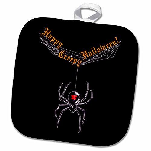 3dRose phl_245348_1 Topflappen Witwe Spinnen und Netz, Gruseliger Halloween, schwarzer Hintergrund, 20,3 x 20,3 cm